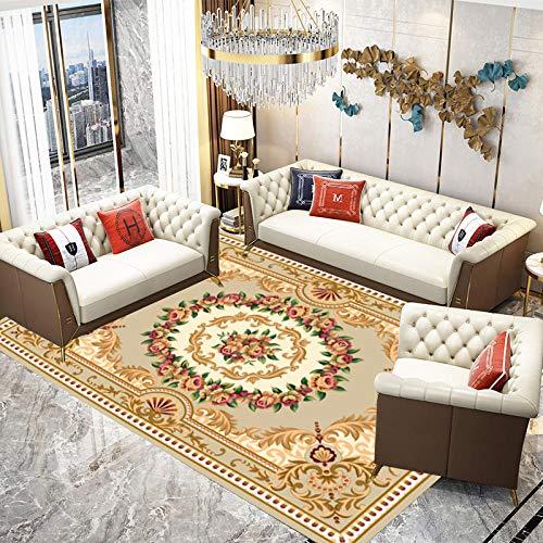 DYEWD Alfombra antideslizante, alfombras tradicionales, clásicas del hogar, alfombras florales orientales con bordes, Tos-01_160 x 230 cm