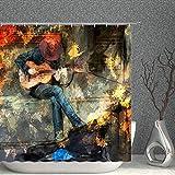 AMNYSF Duschvorhang mit Musik, Hipster-Man, spielt E-Gitarre, buntes Vintage-Ölgemälde-Dekor, Stoff, Polyester, Badezimmer-Gardinen mit Haken, 178 x 178 cm
