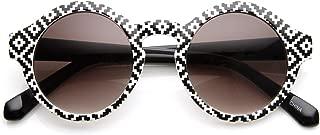 Vintage Inspired Round Circle Native Print Horned Rim Sunglasses (Native-Print B&W Smoke)