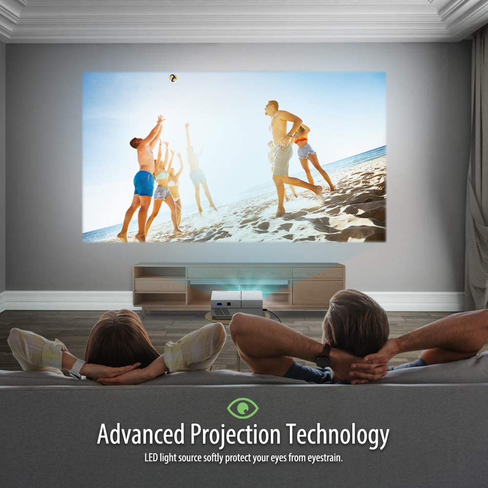 Vamvo Movie Projector, Portable Projector with Dolby Digital Plus Support 1080P 200