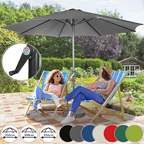Sonnenschirm in Ø 2,5m / Ø 3m / Ø 3,5m - in Farbwahl aus Stahlrohr und Wasserabweisender Schirmbezug, mit Kurbel - Marktschirm, Gartenschirm, Terrassenschirm, Ampelschirm, Strandschirm, Sonnenschutz (Ø 2,5 m, Grau)