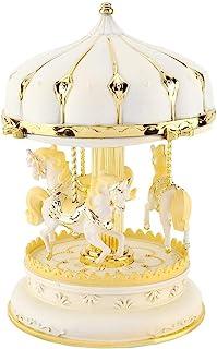 Romantische kunststof, drie paarden, carrousel, muziekdoos, verjaardag, kinderen, verjaardagscadeau (2#)