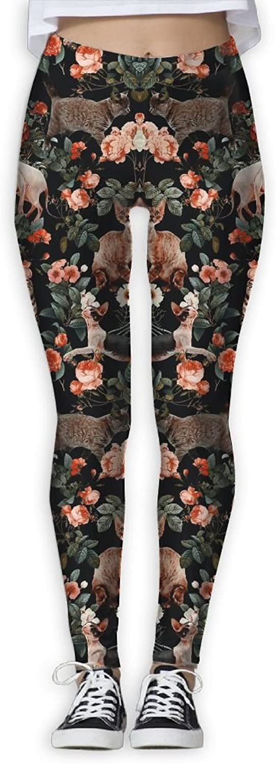 Siamese Cat Flowers Cat Printed Yoga Pants Stretchy Workout Soft Workout Gym Leggings Tights Elastic