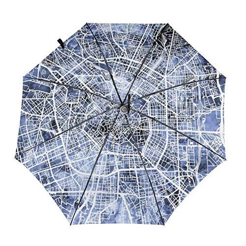 Paraguas automáticos a Prueba de Viento Milán Italia Mapa de la Ciudad Plegable Protección UV Paraguas Bolsa de Transporte