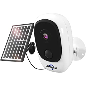 Hiseeu 1080P Solar Wireless Camera, Outdoor Security Camera Support App Remote, 2-Way Audio, Motion Alert, Rechargeable Batteries, IP65 Waterproof, Night Vision, 2.4GHz WiFi, SD & Cloud Storage