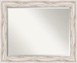 Amanti Art Alexandria White wash Bathroom Mirror, Large,