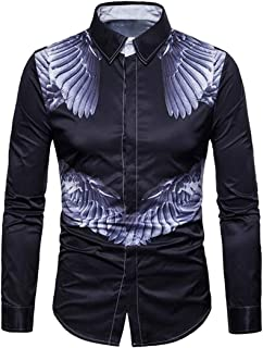 FSSE Men 3D Wing Print Slim Fit Long Sleeve Casual Business Button Up Dress Shirts