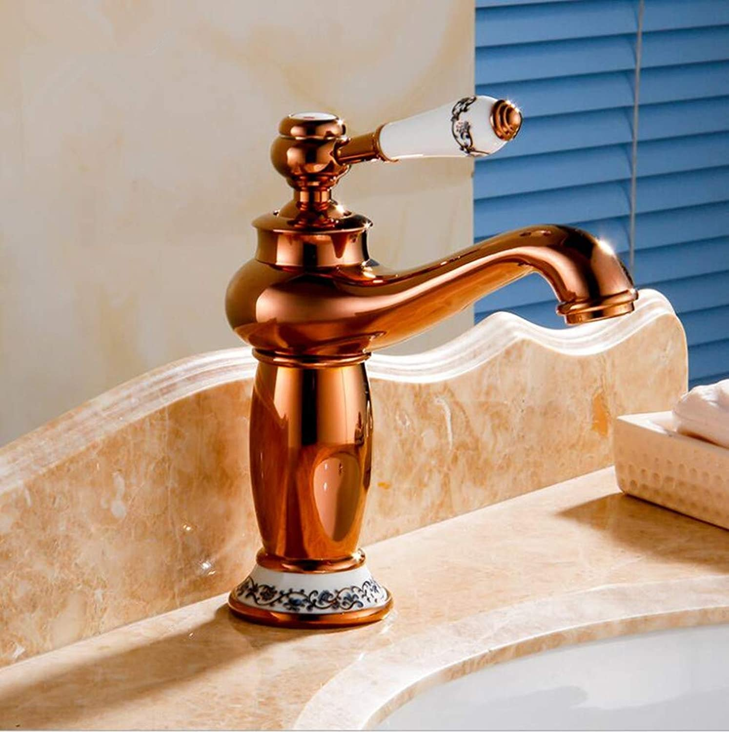 Ss European-style gold-plated Faucet In The Bathroom Antique Copper-plated Hot And Cold Faucet In The Basin,Metallic
