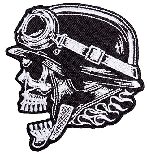 Aufnäher Aufbügler Biker Totenkopf Helm
