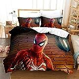 GSYHZL Taie d'oreiller de Housse de Couette à Motif d'impression 3D Spiderman,Simple Double King Size,Ensemble de literie préféré pour garçons,Adolescents-Spiderman 2_228x264(3PCS)