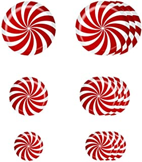 wuliLINL 12 Pieces Floor Decals Self-Adhesive Round Stickers 3 Sizes for Christmas Candy Sticker Party Decoration