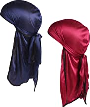 Durio Mens Durag Hip-Hop Durags for Men Long Tail for 360 Waves Solid Du-Rags Headwraps