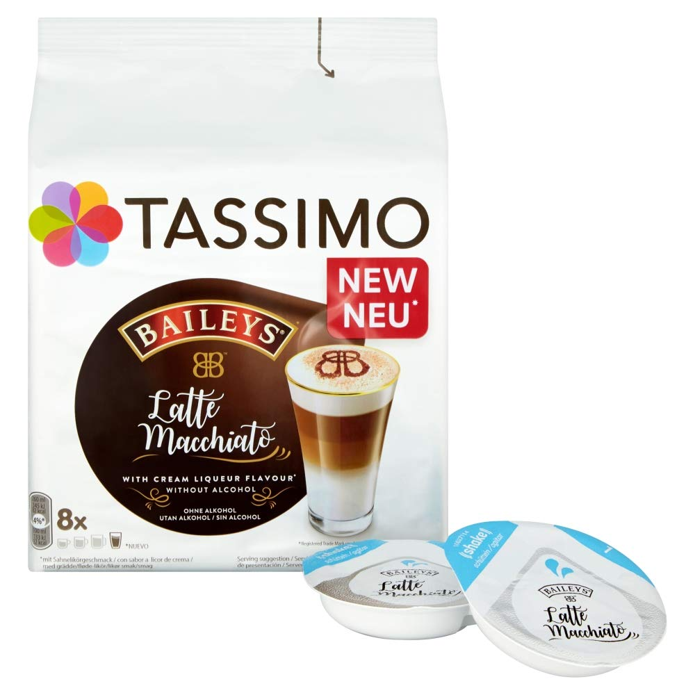 Tassimo Kapseln Latte Typ Macchiato Baileys, 8 Kaffeekapseln, 8er Pack, 8  x 8 Getränke