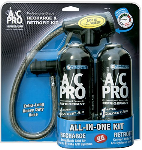 InterDynamics AC Pro Car Air Conditioner R134A Refrigerant, AC Recharge Kit Includes Gas, Gauge and Hose, 15 Oz, Pack of 2, ACP-110-2PK