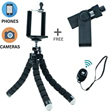 """Tripod Phone Mount   7"""" Flexible Legs  360°Universal Clips, Adjustable   Compact, Portable, Lightweight   Video & Photo  Compatible with Smart Phone (Black)"""