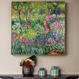 YIYEBAOFU DIY Pintar por números Jardín de Monet Flores sobre lienzos y Carteles para Sala de Estar Pared decoración del hogar decoración de la Imagen 40x40cm(Sin Marco)