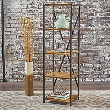 Relee 17  Wide Natural Stained Acacia Wood Bookcase with Rustic Metal Finished Iron Accents