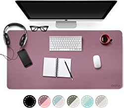 Dual Sided PU Leather Desk Pad, 2019 Upgrade Sewing Edge Office Desk Mat, Waterproof Desk Blotter Protector, Desk Writing Mat Mouse Pad (Purple/Pink, 31.5