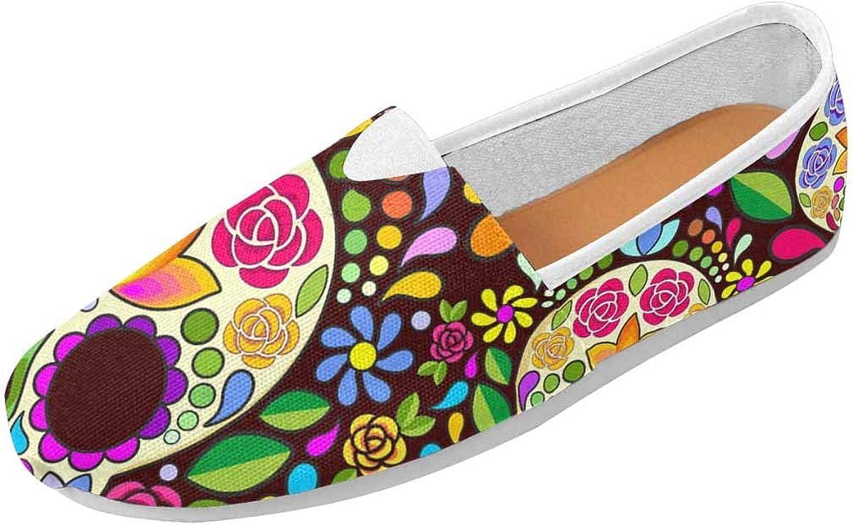 InterestPrint Sugar Skull Floral Classics Women's Slip On Loafer Shoes