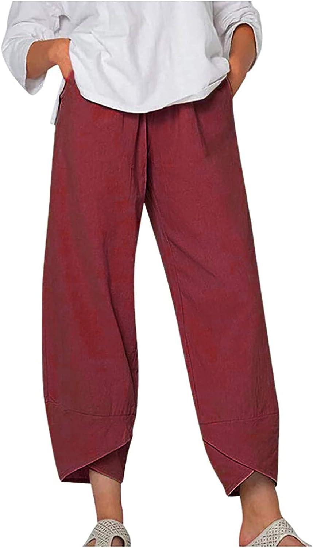 Wide Leg Pants, Women's Elastic Waist Casual Crop Linen Pull On Pants Cotton Harem Trousers Cropped Pants