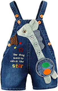 KidsCool Baby Summer Cotton Denim 3D Long Neck Dog Short Overalls