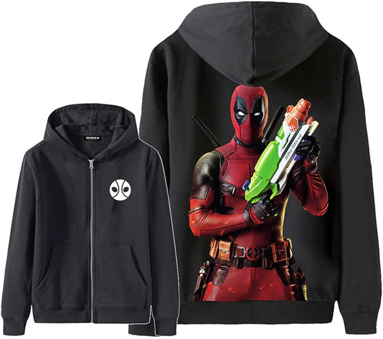 Teen Boys Deadpool Winter fleeces Hoodie Sweater-Full Zip Warm Thick Coats With Pockets