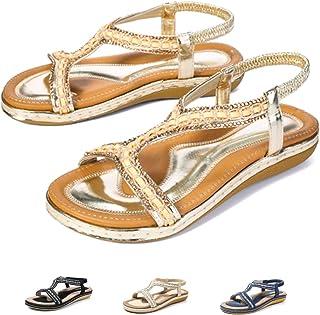 61a1edfaea2414 Camfosy Sandales Femmes Plates Été, Chaussures Été Nu Pieds à Talons Plats  Claquettes Plage Semelle