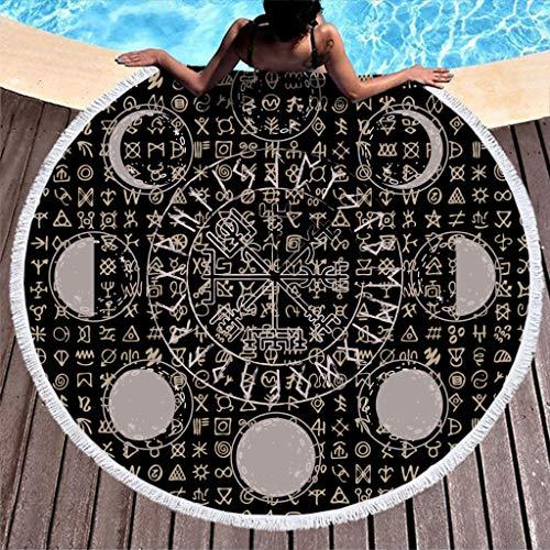 MINNOMO Toalla de Playa Redonda y Duradera, borlas Grises, Fase Lunar, símbolo Vikingo, geométrica, runas y Ciclo, impresión Divertida, Flecos Redondos, Esterilla de Yoga, Blanco, 150 cm