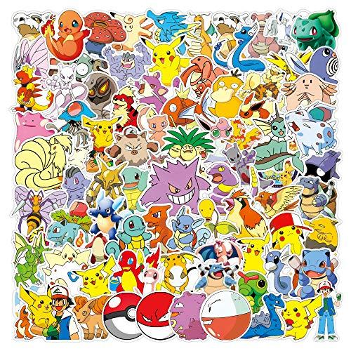 100 Stück Pokemon Aufkleber Wasserflaschen Laptop Telefon Gitarre Skateboard Computer Niedliche Tiere Monster Vinyl Stickers Wasserdicht Ästhetisch Anime Aufkleber für Jugendliche Kinder Erwachsene