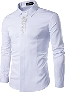 HOP Fashion Mens Casual Shirts Long Sleeve Slim Fit Button Down Dress Shirt with Floral Embrodiery