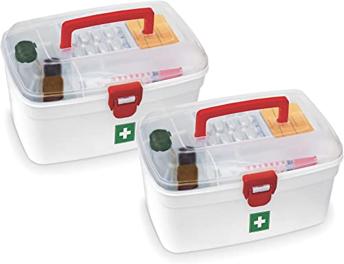 Milton Medical Box Set of 2 Emergency Medical Box Portal Box Medicine Storage Box BPA Free Emergency Cabinet Organizer Detachable Tray Medical Box Medicine Organizer Indoor Outdoor Medical Utility