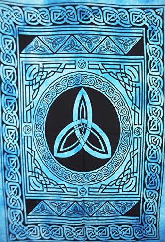 Traditional Jaipur Triquetra Trinity Symbol Celtic Art Poster Tapestry, Indian Poster, Bohemian Wall Hanging, Hippie Dorm Room Decorations, Gypsy Wall Art