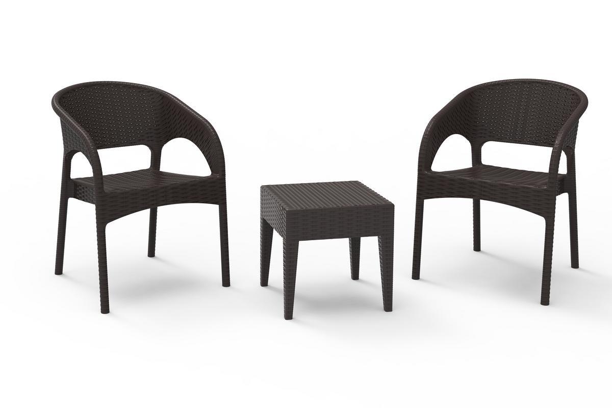 resol set de jardín exterior de 2 sillones y 1 mesa auxiliar Bahia - color chocolate: Amazon.es: Jardín