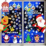 CheChury Navidad Pegatina de Pared Tienda De Ventana Pegatinas De Pared Copo de Nieve Alce...