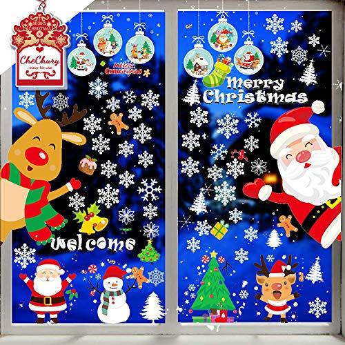 CheChury Fensterbilder für Weihnachten Fensterbilder Winter Statisch Schneeflocken Winterdekoration DIY Weihnachtsdeko PVC Fensterdeko Set Weihnachtsbaum