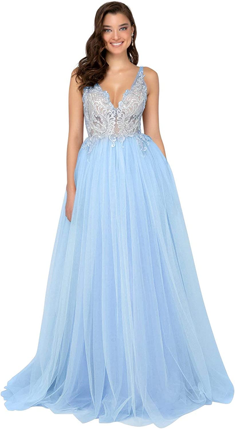 Terani Couture  1911P8527 Embroidered Plunging ALine Gown