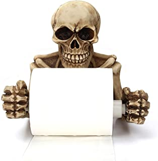 Skeleton Skulls Decorative Toilet Paper Holder in Scary Halloween Decorations As Bathroom Decor Wall Plaques, Sculptures and Novelty Bath Accessories or Spooky Skulls & Skeletons for Medieval & Gothic