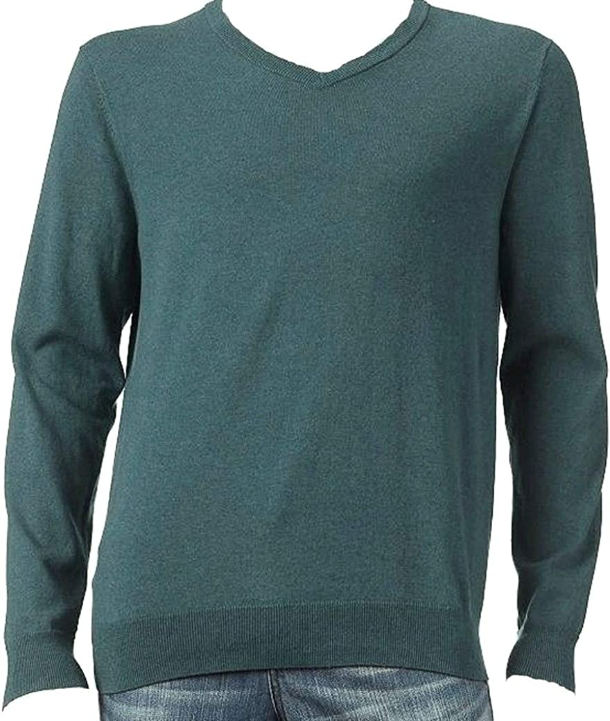 Sonoma Mens Classic Fit V-Neck Pullover Green Heather Sweater Long Sleeves