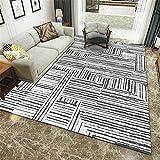 alfombra dormitorio matrimonio gris Antiácaros de la alfombra lavable del modelo de la tela a rayas de la pintada del gris de la alfombra del salón alfombra pasillo antideslizante 140X200CM alfombra d
