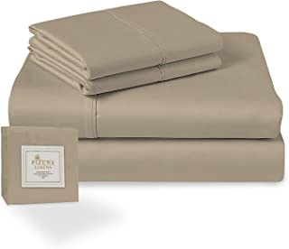 Pizuna 400 Thread Count Cotton 4 Piece Bed Sheet Set White Full, 100% Long Staple Cotton Soft Satin White Bedsheet Set- 1 ...