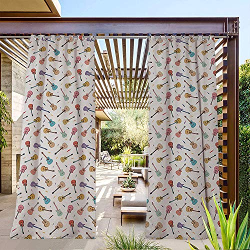 FOEYESEE Outdoor Tab Curtains for Patio Rhythm and Melody Pattern with Colorful Acoustic Guitars Country Music Songs Theme Multicolor Great for Patio/Pergola/Porch 120x96 Inch