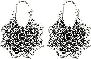 SMALLE ◕‿◕ Antique Silver Gypsy Indian Tribal Ethnic Hoop Dangle Mandala Earrings Boho