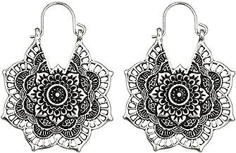 💗 Orcbee 💗 _Antique Silver Gypsy Indian Tribal Ethnic Hoop Dangle Mandala Boho Earrings