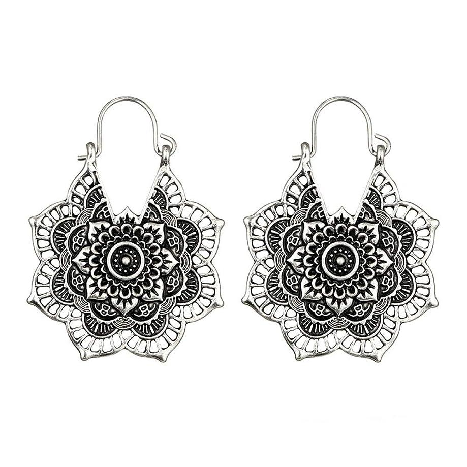 Clearance Sale!UMFun????Antique silver Gypsy Indian Tribal Ethnic Hoop Dangle Mandala Earrings Boho