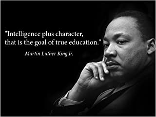 Martin Luther King Jr. Poster Famous Inspirational Quote Banner classrooms Education Wall Art Photograph Picture Black History Month Famous African American Hero Activism Teacher (Laminated)