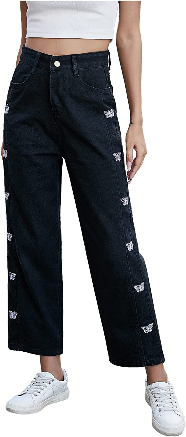 F_Gotal Jeans Y2K for Max 60% OFF Women Straight Charlotte Mall Le Womens Patchwork