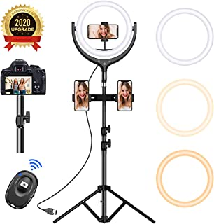 12''Selfie Ring Light with 68.8''Tripod Stand - Led Ring Light 3 Modes 10 Brightness, Selfie Light with 3 Phone Holder for Photography/Vlogging/Live Streaming Compatible with Phone& Camera