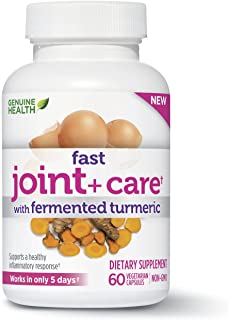 Genuine Health Fast Joint+ Care with Fermented Turmeric, Eggshell Membrane, Natural Pain Relief, Anti Inflammatory, 60 Capsules