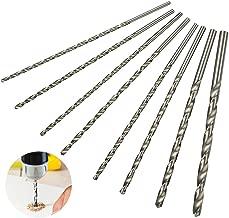 Walfront 8pcs HSS Extra Long Drill Bit Set Round Shank for Wood Aluminum Plastic 4-10mm