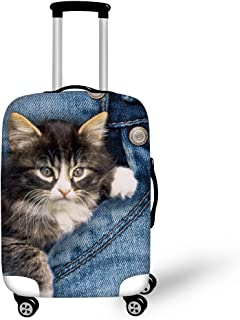 HUGS IDEA Funny Luggage Cover Protective Pocket Cat Suitcase Protector Covers with Zipper for Travel 26/28/30 Inch